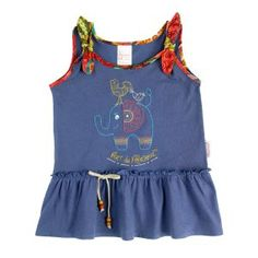 Dark blue swing top with a gorgeous elephant print and beaded laces Fabric: Pure cotton Fit: Easy fit Detail: Allover print Sizes: - Frilly Dresses, Dance Dresses, Safari Dress, Beaded Lace Fabric, Taupe Dress, Africa Dress, Chevron Dress, Chambray Dress, Vestidos