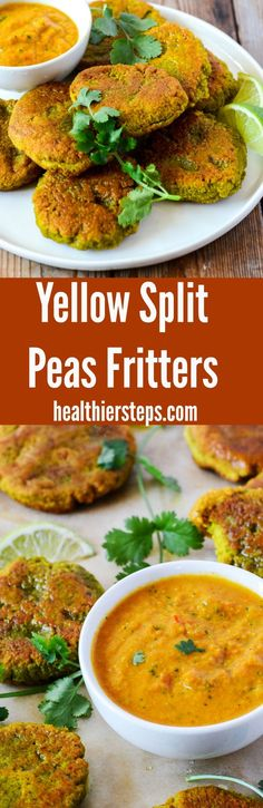 Yellow Split Peas Fritters with Curry Sauce - Healthier Steps Best Appetizers, Appetizer Recipes, Dinner Recipes, Delicious Vegan Recipes, Vegetarian Recipes, Healthy Recipes, Healthy Meals, Healthy Food, Healthy Eating