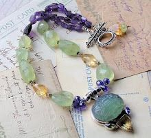 carved apatite, prehnite, citrine, and amethyst