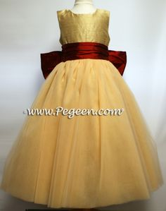 Spun gold and claret red silk and tulle Flower Girl Dresses by Pegeen.com Couture Style 402 in over 200 colors from sizes infant through plus size girls.