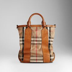 medium check leather detail tote