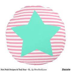 Hot Pink Stripes & Teal Star - Round Pillow