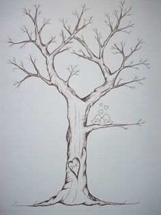 Fingerprint Trees-hand drawn with waterproof and fade proof ink= a great alternative for a wedding/shower sign-in
