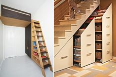 Stairs for small spaces space living staircase storage at home with image staircases tight spiral . Small Space Staircase, Staircase Storage, Loft Stairs, Bunk Beds With Stairs, Stair Storage, Under Stairs, Stair Drawers, Staircase Landing, Dvd Storage