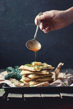 Kale and Romano Ricotta Waffles with Cayenne Honey.
