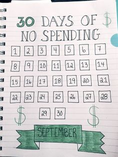 Budgeting through September with a No Spending Challenge. - I don't think I could go ALL month, but it's nice to see how many days I can go.