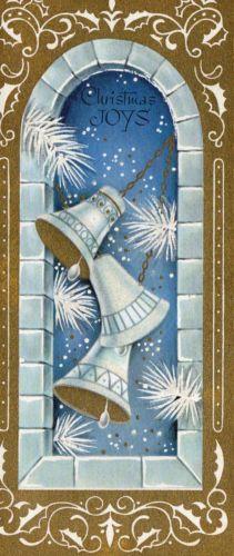 MID-CENTURY-Xmas-Card-GLITTERED-BELLS-Decorated-GOLD-Around-Window-Vntg-Greeting