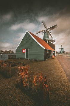 Windmills in Zaandam, Holland, Zaanse Schans neighbourhood