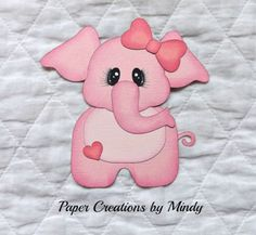 Baby-Elephant-pink-Kids-premade-paper-piecing-for-scrapbooking-page-album-border