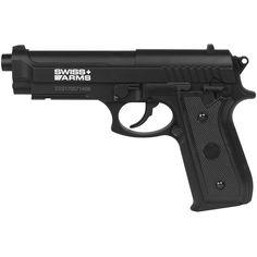 Pistola de Pressão CO2 Swiss Arms P92 4.5mm - Preto Ref.:BHM-0031-006-01  Pistola de Pressão CO2 Swiss Arms P92 4.5mm. A P92 é uma Pistola de Pressão produzida pela Cybergun e leva como marca a Swiss Arms. Seu funcionamento é através de gás CO2 Airsoft, Winner Winner Chicken Dinner, Hand Guns, Overlay, Lifestyle, Weapons Guns, Tactical Clothing, All Black, Luxury