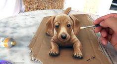 3D Puppy Stefan Pabst 3D Pencil Art 2016 via /r/Art...