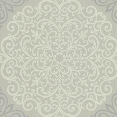 CCE130023 Black Medallion Damask - Cassidy - Encore Wallpaper by Warner Studios