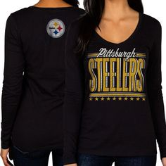Women's Pittsburgh Steelers Cuce Black The Underdog Scoop Sequin Logo Long Sleeve T-Shirt
