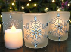Snowflake Votive Candleholders with Flameless Flickering LED Candles Set of 3 Frosted Glass Glittery Snowflakes with Jewels - Glass Tealight Candle Holders, Christmas Candle Holders, Christmas Candles, Candle Set, Christmas Fun, Christmas Feeling, Glass Candle, Wine Glass, Flameless Candles