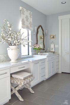 Gorgeous White Transitional Master Bathroom Tour (with farmhouse touches)!