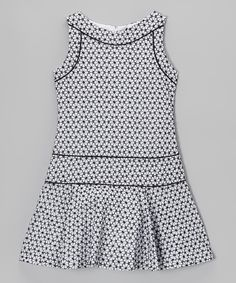Take a look at this White & Black Floral Kelly Drop-Waist Dress - Girls on zulily today!