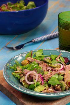 Salada de pato assado com favas