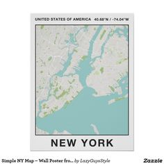 Simple NY Map – Wall Poster from LazyGuysStyle