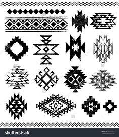 Hand - Drawn look Aztec - Navajo - Indian vector pattern pages - stock . Motif Navajo, Navajo Pattern, Navajo Art, Native American Patterns, Native American Design, Motifs Aztèques, Navajo Weaving, Arte Tribal, Native Design