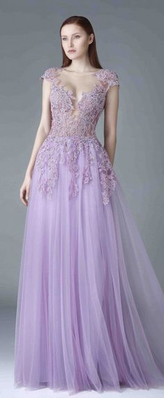 Gorgeous Tulle Scoop Neckline Cap Sleeves A-line Prom Dress With Beaded Lace Appliques