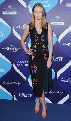 Pin for Later: The Hot Oscars Parties You May Have Missed  Emily Blunt stunned on unite4:humanity's red carpet.