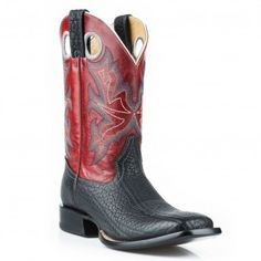 Stetson Cowboy Boot Mens Black Bull Neck Vamp / Red Leather Square Toe 12-020-8801-0864