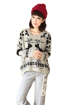 Grey Round Collar Oversized Women Christmas Reindeer Pullover Sweater For Sale! Fast Shipping #Cheap Sweaters #2014 outfit,sweaters for fall,sweaters #girls,#chic sweaters #womens,cute sweaters for teens,#cute sweaters with leggings,fashion #sexy sweaters #party,#sweater #ugly #christmas jumper,holiday reindeer sweater pinkqueen.com