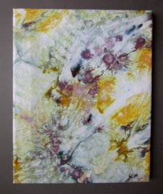 gray and yellow textile wall art. $35.00, via Etsy. wall art, textile art, ice-dyeing, fabric art, wall hanging