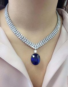 This stunning Burmese sapphire and diamond necklace will be offered in our Hong Kong Magnificent Jewels. carats, not only is the size of this sapphire impressive, the rich color saturation and natural purity make it a truly remarkable gem. Sapphire Necklace, Diamond Pendant Necklace, Diamond Jewelry, Diamond Necklaces, Diamond Choker, Pearl Pendant, Silver Jewelry, Silver Ring, Pearl Necklace