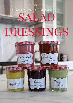 Recipes for 5 Healthy Salad Dressings Made with Fruits and Vegetables by a Registered Dietitian.