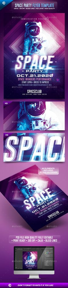 Space Night Party | Futuristic Flyer Template PSD #design Download: http://graphicriver.net/item/space-night-party-futuristic-flyer-template-/13358516?ref=ksioks