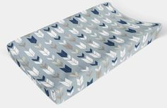 Changing Pad Cover - Blue Arrow - Changing Pad, Change Pad Cover, Minky Changing Pad Cover, Contoured Changing Pad Cover - Nursery Decor