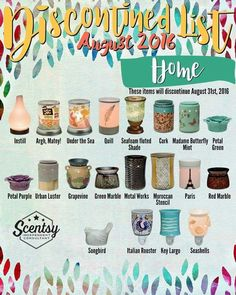 Scentsy Sale!!!  10% off almost everything for the month of August!  Here are the retiring warmers...get them on sale before they are gone forever!!! www.sheripresswood.scentsy.ca