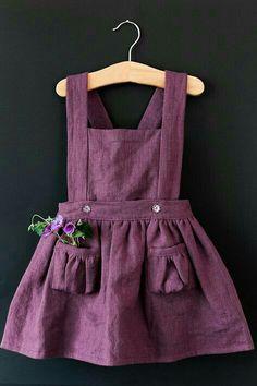 ♡ darling linen girls dress with suspenders