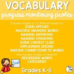 Looking for a way to assess vocabulary skills at the beginning of the year? These Vocabulary Progress Monitoring Probes contain targets for Synonyms, Antonyms, Multiple Meaning Words, Context Clues, Idioms, Describing, Categories, Affixes, and more!