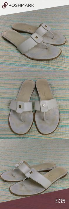 Salvatore Ferragamo 10 B White Leather Sandals Salvatore Ferragamo Wms Sz 10 B White Leather Thong T-Strap Flat Sandals Italy Salvatore Ferragamo Shoes Sandals