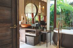 Collection: Virage • Finish: Brilliance Brushed Bronze • Product: Bath Collection • Property: Mandapa, A Ritz Carlton Reserve