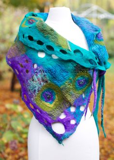 SOLD Handcrafted Nuno Felt Shawl - Double sided Teal and Olive  A lovely accessory to dress up an outfit and add a bit of warmth. Perfect for cool spring and autumn evenings when worn over a sleeveless outfit or layered on top of warmer clothes to brave the cold with color and style! Equally as gorgeous worn inside out!  Hand-dyed Habotai silk, silk chiffon, Merino wool and decorative fibers come together in this soft, artistic splash of color.  Shawl has decorative dreadlocks and holes…