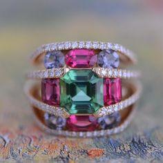 "ARTEAU Paris (@arteauparis) on Instagram: ""BA 023 Ring - Gold - Green Tourmaline - Black Spinels - Red Spinels - Single Cut Diamonds #handmade"