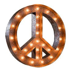 Show your love for peace with this huge marquee light peace sign. Its warm light will get people in the zen mood and leave them relaxed all day. Great for yoga studios and outdoor events that strive to achieve tranquility. Vintage Lamps, Vintage Lighting, Vintage Metal, Vintage Signs, Furniture Vintage, Diy Furniture, Marquee Letters, Marquee Lights, Light Letters