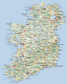 Road map of Ireland. Ireland road map with cities and airports. Ireland Map, Ireland Travel, Tourist Map, Reisen In Europa, Ireland Vacation, Travel Maps, Geography, Lugares, Paintings