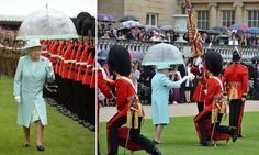 More than 2,200 guests watched as the 1st Battalion and F Company Scots Guards were honoured by the Queen in the middle of a summer downpour in Buckingham Palace gardens.