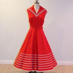 Vintage 50s Dress Red & White Stripe Cotton by daisyandstella, $150.00