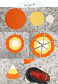 Candy Corn Tags Instructions tutorial  uses spellbinder circles...