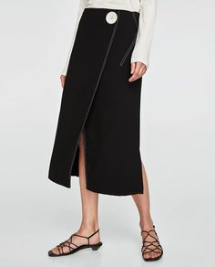 WRAP SKIRT WITH CONTRASTING TOPSTITCHING DETAIL-View All-SKIRTS-WOMAN   ZARA United Kingdom