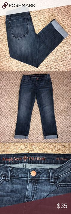 """Simply Vera Wang 4 Petite Roll Cuff Capri Jeans ~ EUC! ~ Size 4 petite ~ Waist approx 26"""" ~ Rise approx 8"""" ~ Inseam approx 23"""" ~ Leg opening approx 12-1/2"""" ~ No signs of wear ~ Please ask any questions ~ Thanks for visiting my closet! Simply Vera Vera Wang Jeans Ankle & Cropped"""