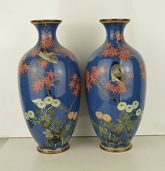 A Fine Pair Of Japanese Large Cloisonné Vases with birds