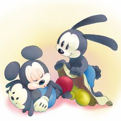 Look at Oswald being a good big brother! Epic Mickey 2, Disney Mickey, Walt Disney, Mickey Mouse Cartoon, Mickey Mouse And Friends, Disney Fanatic, Disney Addict, Disneyland Princess, Disney Decendants