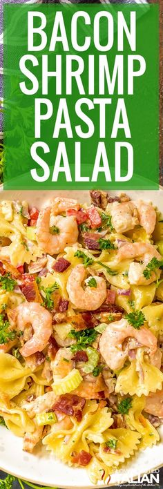 Bacon Shrimp Pasta Salad is your favorite summer side take to the next level with succulent shrimp and smoky bacon. It is a new favorite side dish for your barbecues, potlucks and parties! In fact, this pasta salad is the perfect summertime dinner. Supper Recipes, Healthy Dinner Recipes, Cooking Recipes, Healthy Dishes, Soup And Salad, Pasta Salad, Seafood Salad, The Slow Roasted Italian, Brunch