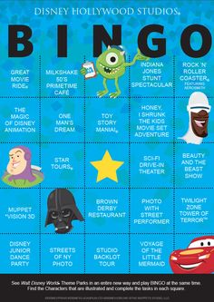 It's time to add to the Walt Disney World Bingo Challenge.  Here is the Disney's Hollywood Studios card. Have fun creating unique games with them.